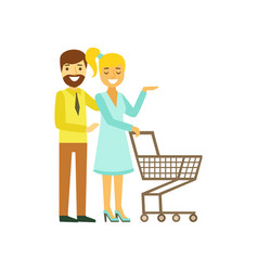 happy young couple with shopping cart family vector image vector image