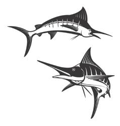 Marlin fish icons vector image