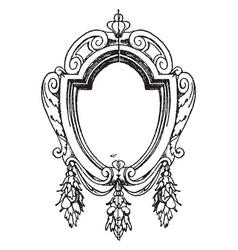 Renaissance strap-work frame was oval shape vector