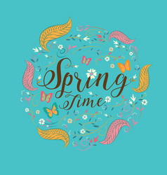 spring lettering spring background text vector image vector image