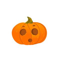 halloween pumpkin lantern with surprised face vector image vector image