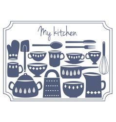 kitchen label vector image