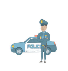 police officer standing in front of police car vector image vector image