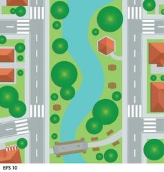 Road map city top view vector