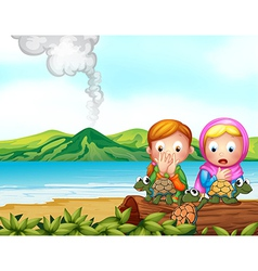 Shocked faces of two girls with three turtles vector image vector image