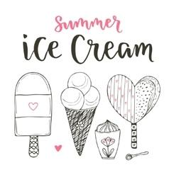 Collection of cartoon ice cream set Cones vector image vector image