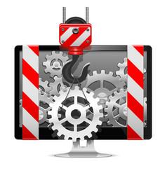 Computer Repair with Crane vector image vector image