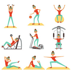 fitness woman exercising in the gym with sports vector image