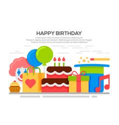 flat happy birthday festive concept vector image vector image