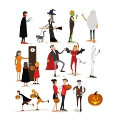Happy halloween holiday party characters isolated vector image