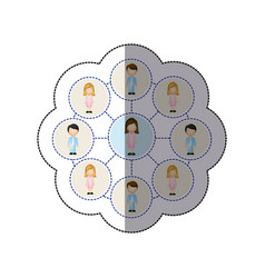 color people connection icon vector image