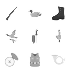 Hunting set icons in monochrome style Big vector image vector image