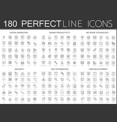 180 modern thin line icons set of digital vector image