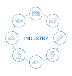 8 industry icons vector image