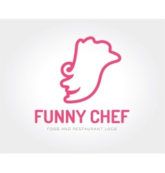abstract chef face logo template vector image