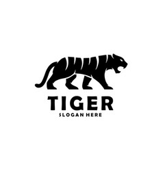 abstract silhouette tiger walking concept vector image