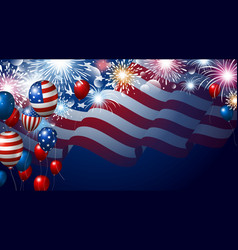 American flag and balloons with fireworks vector
