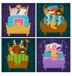 Animals sleeping in bed fairytale pets asleep set vector