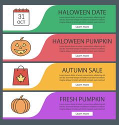 Autumn season web banner templates set vector