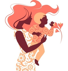 Beautiful silhouette mother and baby vector