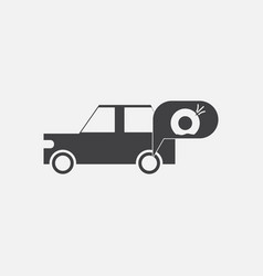 Black icon on white background car and punctured vector
