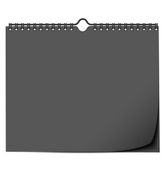 Black wall calendar mock up template with spring vector