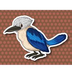 Blue bird on brown background vector image