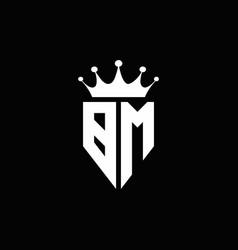 bm logo monogram emblem style with crown shape vector image