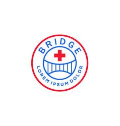 Bridge medical red logo design vector