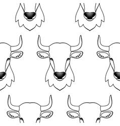 Bull seamless pattern vector image