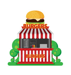 Burgers shop flat isolated on white background vector