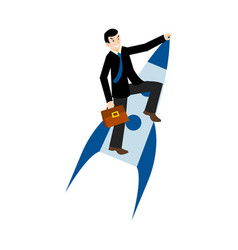 businessman flying on a rocket vector image
