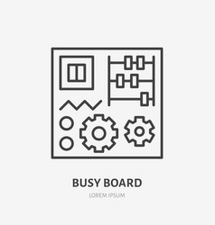 Busy board flat logo early development baby toy vector