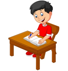 Cartoon little boy writing vector image