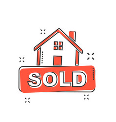 Cartoon sold house icon in comic style home vector