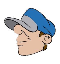 Cartoon young guy with cap comic vector