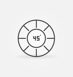circle and 45 degrees outline concept icon vector image
