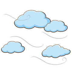 Clouds with light winds blowing in sky vector