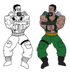 Color strong man vector