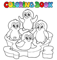 Coloring book cute penguins 2 vector