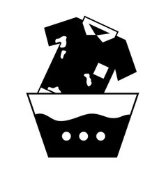 Contour dirty t-shirt soaking in pail with water vector