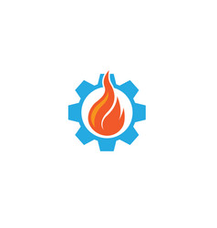 creative fire in gear symbol or pinion vector image