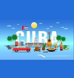 Cuba travel background vector