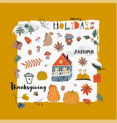 cute autumn collection set fall harvest season vector image