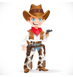 Cute boy dressed as a cowboy with revolver vector