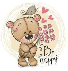 Cute cartoon teddy bear with flowers vector