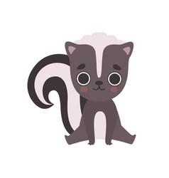 cute little skunk baanimal cartoon character vector image