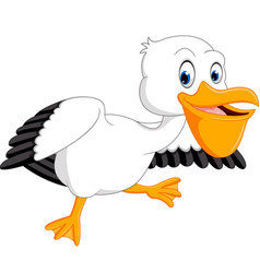 cute pelican cartoon vector image