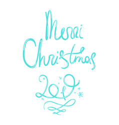 doodle merry christmas lettering with 2019 number vector image
