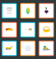 Flat icons hacksaw bucket field and other vector